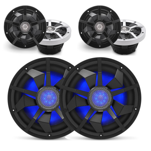 Clarion Marine Speaker System 2 pair (4) 6.5 Inch speakers, and 1 pair (2) 12 Inch Subwoofer all with RGB LED Lights