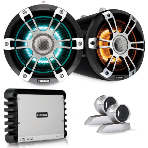 Fusion SG-FLT882SPC 8.8'' Sports Grey Chrome Tower Speaker with Swivel Clamps and SG-DA41400 4-Channel Amplifier