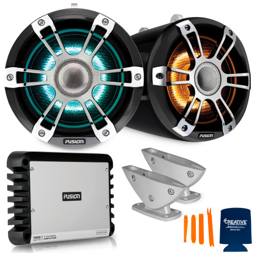 Fusion SG-FLT772SPC 7.7'' Sports Grey Chrome Tower Speaker with Deck Mount and SG-DA41400 4-Channel Amplifier