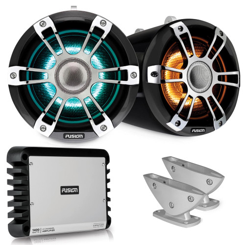 Fusion SG-FLT652SPC 6.5'' Sports Grey Chrome Tower Speaker with Deck Mount and SG-DA41400 4-Channel Amplifier