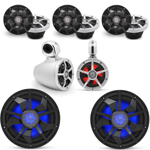 Clarion Marine Speaker System 1 pair Wake Tower, Bow Speakers, 2 pair of Cockpit 6.5 Inch, and Pair (2) 12 Inch Subwoofer all with RGB LED Lights