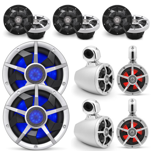 Clarion Marine Speaker System 2 pair Wake Tower, Bow Speakers, 2 pair of Cockpit 6.5 Inch, and Pair (2) 10 Inch Subwoofer all with RGB LED Lights