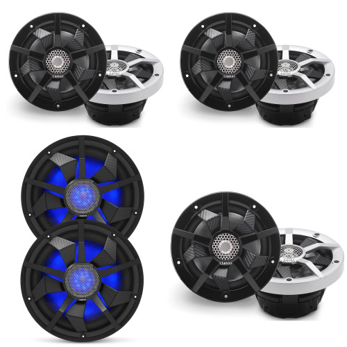 Clarion Marine Speaker System 1 pair Bow Speakers, 2 pair of Cockpit 6.5 Inch, and 1 pair (2) 12 Inch Subwoofer all with RGB LED Lights