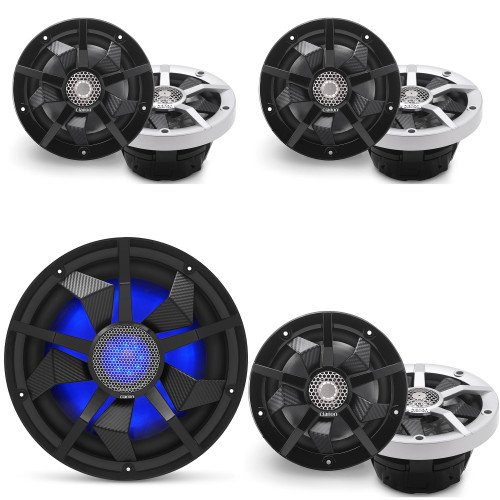 Clarion Marine Speaker System 1 pair Bow Speakers, 2 pair of Cockpit 6.5 Inch, and 12 Inch Subwoofer all with RGB LED Lights