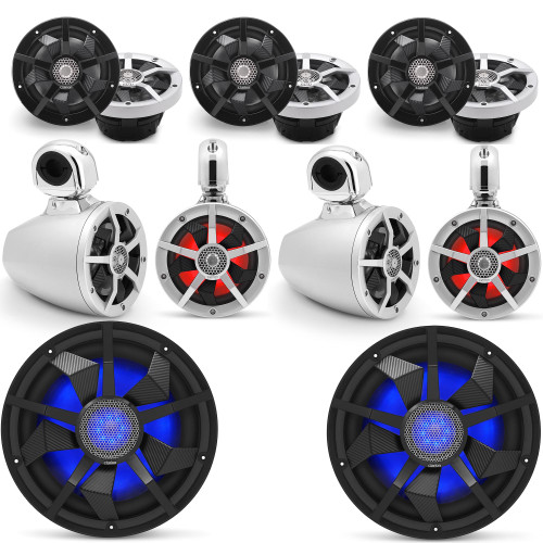Clarion Marine Speaker System 2 pair Wake Tower, Bow Speakers, 2 pair of Cockpit 6.5 Inch, and Pair (2) 12 Inch Subwoofer all with RGB LED Lights