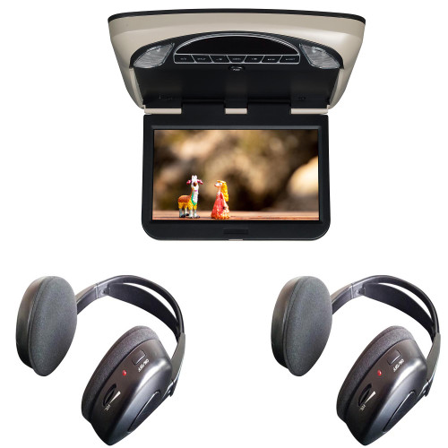 """Voxx Movies To Go VXMTG10 10.1"""" Hi-Res DVD LED Back-lit Overhead Monitor with 2 pair of wireless headphones"""