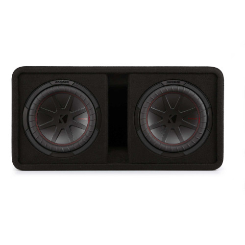 "Kicker 48DCWR102 CompR 10"" dual subwoofers in vented enclosure, 2ohm"