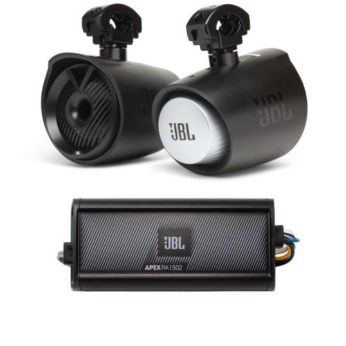 "JBL MT6HLB 6"" 2-way Marine Tower Speaker with 1"" Horn Loaded Compression Tweeter – Black & JBL APEX-PA1502 2 Ch. Amp"