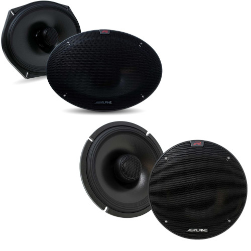 Alpine R-S65.2 R-Series 6 1/2-inch Coaxial 2-Way Speakers with Alpine R-S69.2 R-Series 6x9-inch Coaxial 2-Way Speakers