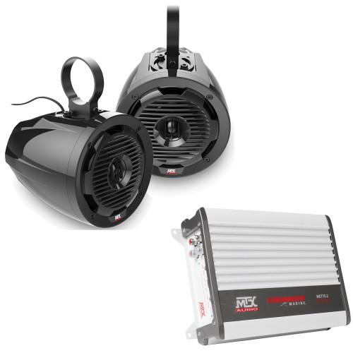 "MTX Audio WET65T 6.5"" 75W RMS 4Ω Tower Coaxial Speaker Pair & WET75.2 Thunder Marine 100W x 2 @ 2Ω Amplifier"