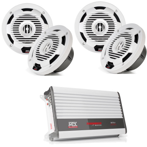 "MTX Audio 2 Pairs of WET65-W Wet Series 6.5"" Coax Speaker - White, and MTX Audio WET75.4 100W x 4 @ 2Ω Marine Amplifier"