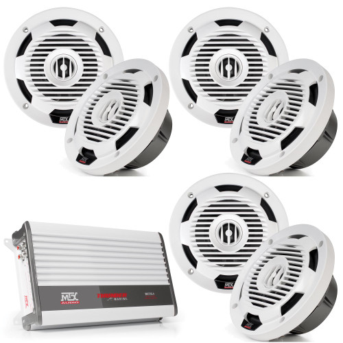 "MTX Audio 3 Pairs of WET65-W Wet Series 6.5"" Coax Speaker - White, and MTX Audio WET75.4 100W x 4 @ 2Ω Marine Amplifier"