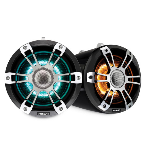 Fusion SG-FLT652SPC 6.5'' Sports Grille Grey Chrome Tower Speakers with LED - Pair - Open Box