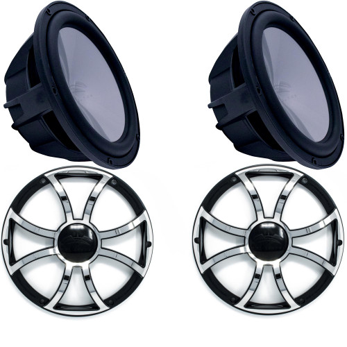"Wet Sounds 2 REVO8FA-B 8"" 4 ohm Black Subwoofers with 2 REVO8XS-B-SSGRILL Black with Stainless XS Open Style Grilles"