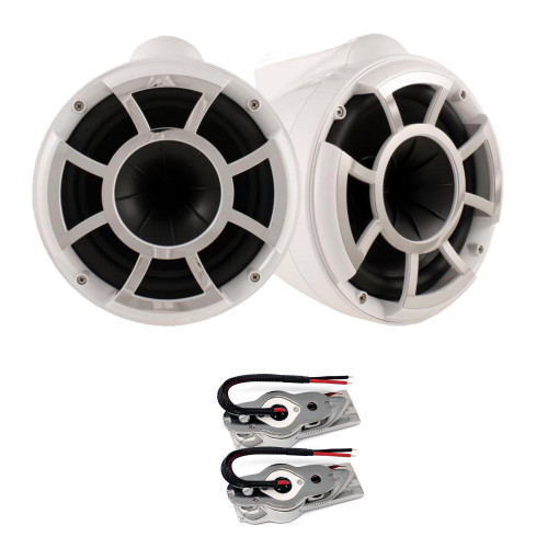 "Wet Sounds REV10W-SXM WHITE 10"" Tower speakers with Stainless Swivel Base Mount (NO PIPE CLAMP)"