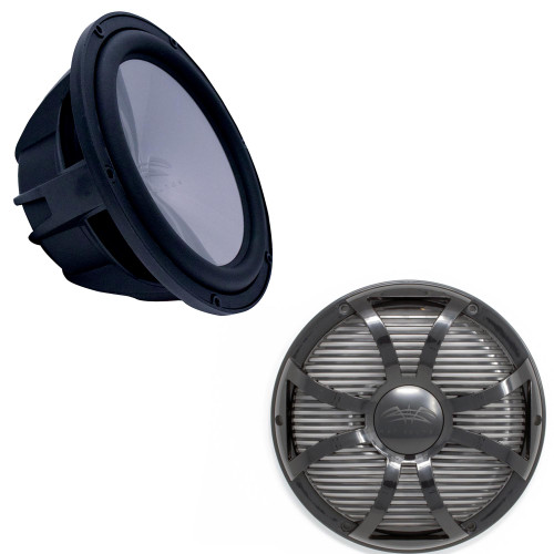 """Wet Sounds REVO8FA-B 8"""" 4 ohm Black Subwoofer with REVO8SW-BGRILL Black SW Closed Style Grill for the REVO 8"""" Subwoofer"""
