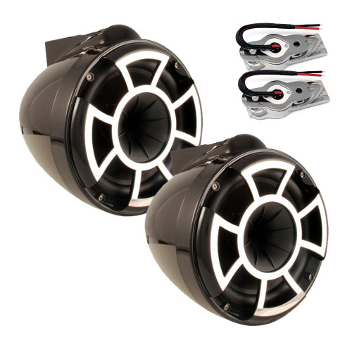 "Wet Sounds REV8 8"" Tower speakers with Stainless Swivel Base Mount (NO PIPE CLAMP)"