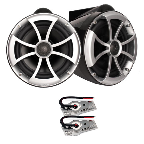"Wet Sounds ICON8B-SXM BLACK 8"" Tower speakers with Stainless Swivel Base Mount (NO PIPE CLAMP)"