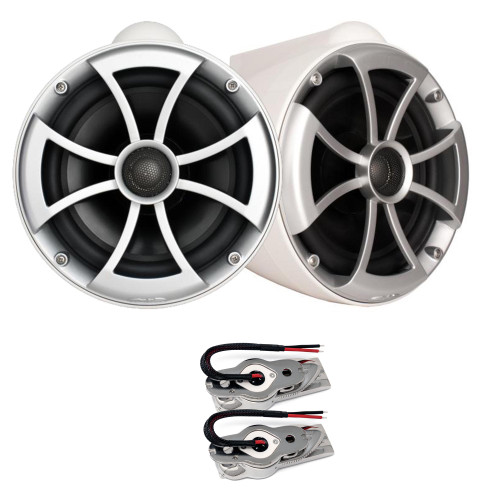 "Wet Sounds ICON8W-SXM WHITE 8"" Tower speakers with Stainless Swivel Base Mount (NO PIPE CLAMP)"