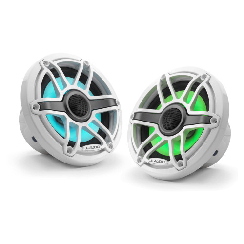 JL Audio 6.5-Inch M6 Marine Coaxial Speaker System, RGB LED, Gloss White, Sport Grille - SKU: M6-650X-S-GwGw-i - Used Acceptable