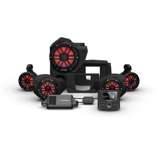 Rockford Fosgate RZR14-STG4 Pmx-2, 800w, Color Optix Front Speakers, Color Optix Sub & Color Optix Rear Speakers Kit Compatible With Select RZR Models