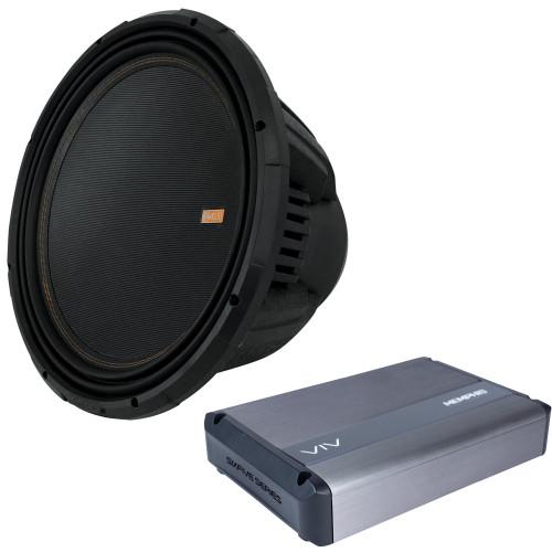 "Memphis Audio - MOJO1512 15"" Selectable 1 Or 2-ohm Impedance Component Subwoofer & 1 VIV1500.1v2 1500w 1-Channel Amplifier"