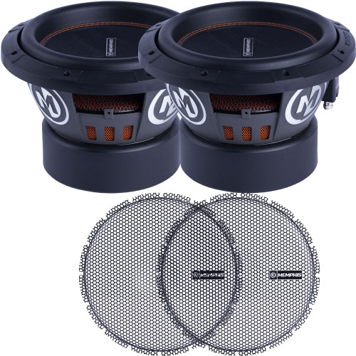 """Memphis Audio - Two M610D4 10"""" MOJO Dual 4-Ohm Subwoofers and 2 BRMG10 10"""" High Excursion Subwoofer Grill For Select Subwoofers"""
