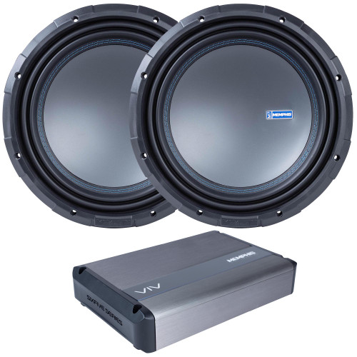 """Memphis Audio - Two M71212 12"""" Selectable 1 Or 2-ohm Impedance Component Subwoofers and 1 VIV1500.1V2 1500w 1-Channel Amplifier"""