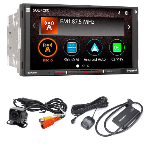 """Dual Electronics DCPA701W 7"""" 2 DIN Digital Media Receiver with wireless CarPlay and Android Auto with Sirius XM Tuner SXV300v1 and back up camera"""