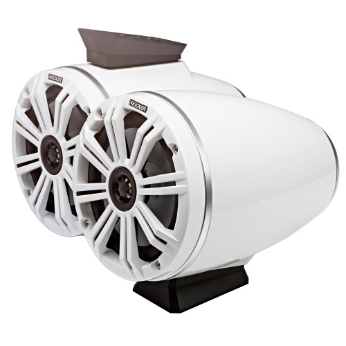 """Kicker KMFC65W 6.5"""" Flat Mount Loaded Marine Wake Towers with 46KM654L Speakers - White Grills And Enclosures - Like New"""