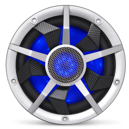 Clarion CM2513WL 10-inch Marine Subwoofer 250W RMS power handling Dual 2 ohm voice coils Built-in RGB illumination Includes Black & Silver Grilles - Used Good