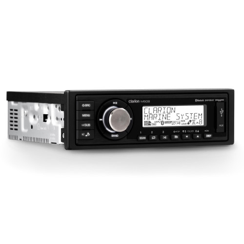Clarion M508 Digital Media Receiver Standard DIN chassis and faceplate Features: AM/FM/WB, Bluetooth - with AptX, USB, Aux Input, Pandora - and SiriusXM-ready, MFI for Apple iPod/iPhone USB Compatibility  This model is NOT water resistant - Like New