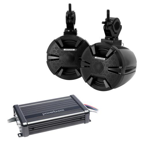 "Alpine SPV-65-SXS 6.5"" Powersports Cage Mount Speaker Pods with Power Bass XL-2305MX Powersports 2 channel Amplifier"