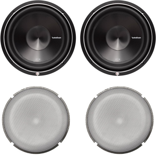 """Rockford Fosgate 2 P3D2-12 Punch P3 12"""" Dual 2-Ohm Subwoofers and 2 P2P3G-12 Stamped Grille Insert"""