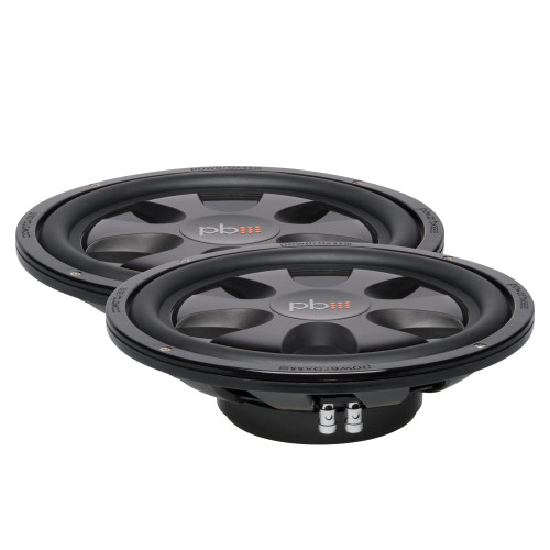 """PowerBass 2 S-12TD Dual 4-Ohm Shallow 12"""" Subwoofers"""