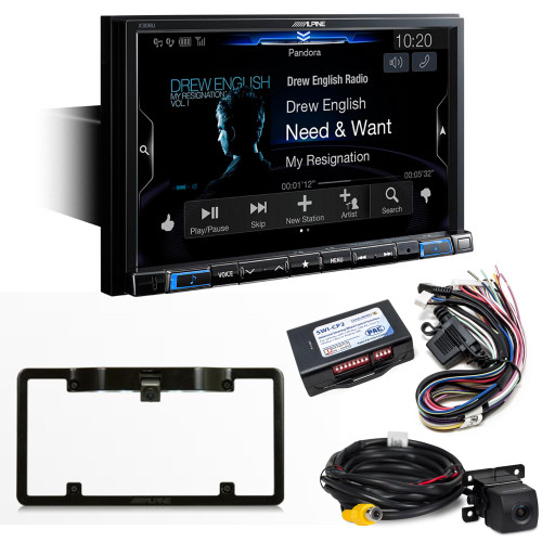 """Alpine X308U 8"""" Navigation Receiver with SWI-CP2 Steering Wheel Control Interface and HCE-C114 Back Up Camera and KTX-C10LP Frame"""