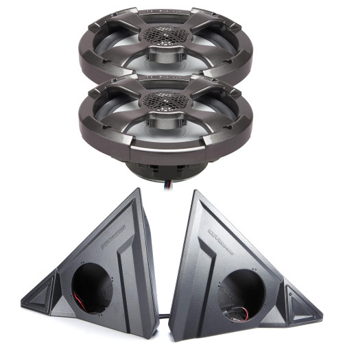 """Powerbass 6.5"""" RGB Shallow Coaxial with Kick Panel Speaker Pods Compatible With 2015-2019 Polaris Slingshot"""