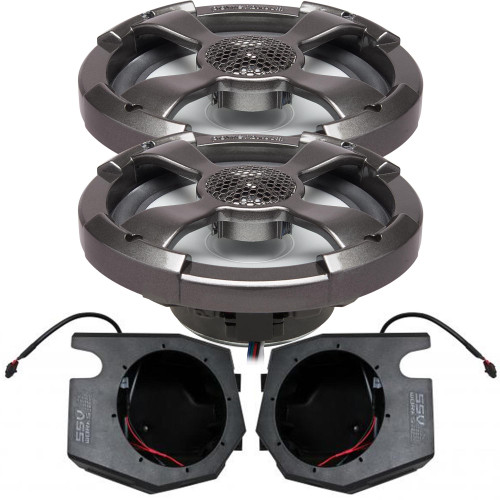 """Powerbass 6.5"""" RGB Shallow Coaxial with Kick Panel Speaker Pods Compatible With 2014+ Polaris RZR"""