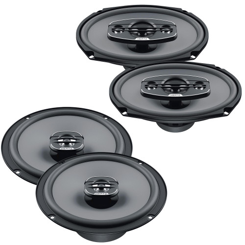 """Hertz One Pair of X-165 UNO Series 6.5"""" Coaxial Speakers and One Pair X -690 UNO Series 6x9"""" 4-Way Coaxial Speakers"""