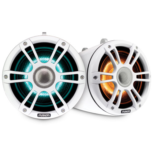 Fusion SG-FLT882SPW 8.8'' Sports Grille White Tower Speakers with LED - Pair - Used Acceptable