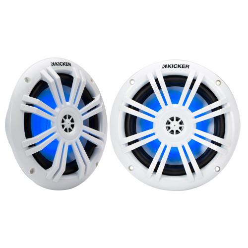 "Kicker 49KM604WL KM 6.5"" 4Ω Blue LED Marine Coaxial Speakers - Pair"