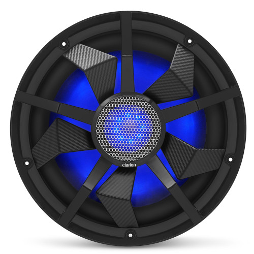 Clarion CM3013WL 12-inch Marine Subwoofer 300W RMS power handling Dual 2 ohm voice coils Built-in RGB illumination Includes Black & Silver Grilles Water Resistant: IP55 front - Used Acceptable