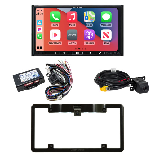 Alpine ILX-407 7-inch Multimedia Receiver with SWI-CP2 Steering Wheel Interface, and Back Up Camera w/ Frame