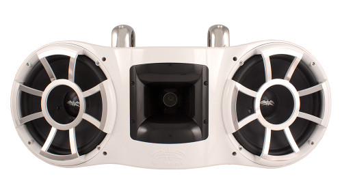 """Wet Sounds REV 410 Fixed Clamp Tower Speaker, fits 1-7/8"""" to 3"""" pipes - WHITE"""