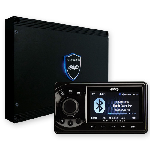 Wet Sounds WS-MC1: Marine Media System with Full-Color LCD Display, Bluetooth, 4-Zone Control.