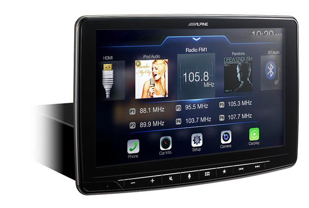 "Alpine iLX-F309 HALO9 9"" AM/FM/audio/video Receiver w/ 9-inch Touch Screen and Mech-less Design - Single-DIN Mounting"