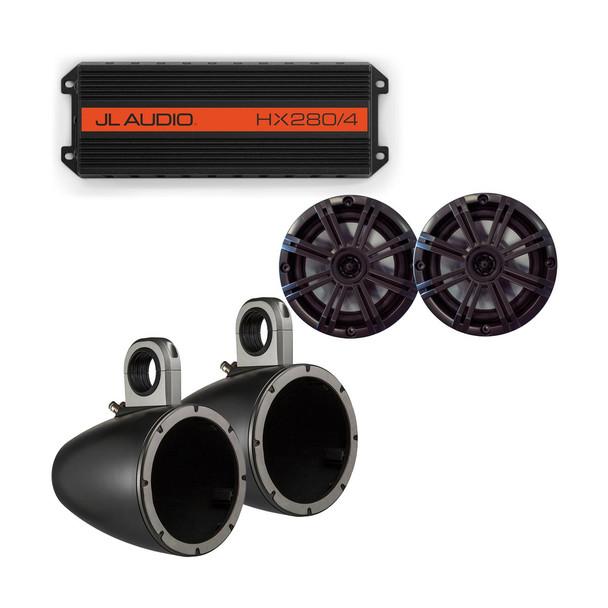 "JL Audio HX280/4 Powersports Amp with Kicker KMTES speaker enclosure and OEM 6.5"" Kicker Marine Speakers"