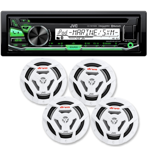 """JVC KD-R97MBS Bluetooth Marine Radio and two pairs of JVC CS-DR6201MW 6.5"""" White Marine Coaxial Speakers"""
