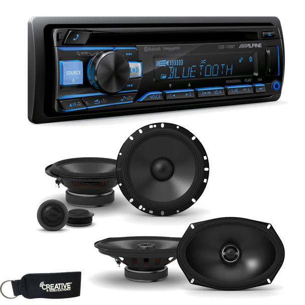 """Alpine CDE-172BT Receiver w/ Bluetooth, A Pair of Alpine S-S65C 6.5"""" Component Speakers & S-S69 6x9"""" Coaxial Speakers"""