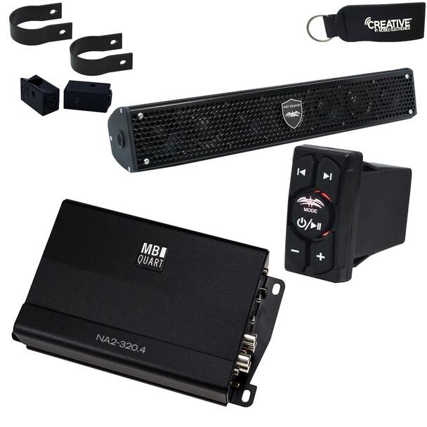 Wet Sounds Stealth-6-Core Soundbar, MB Quart NA2-320.4 Micro Amplifier & WW-BTRS Bluetooth Rocker Switch Controller